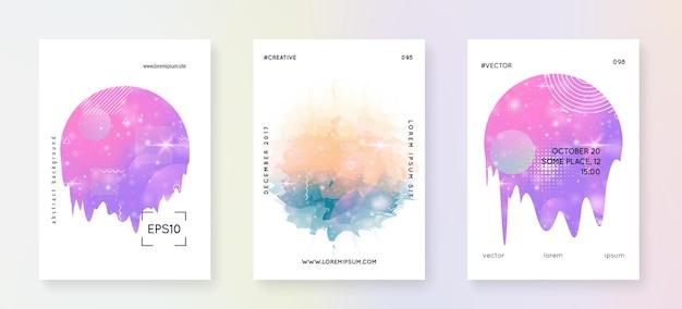 Musikfest. modernes broschüren-layout-set für disco-party. flüssige holografische verlaufsform und -linie. elektronischer klang. nacht tanzurlaub. musikfestsommerplakat und -flyer.
