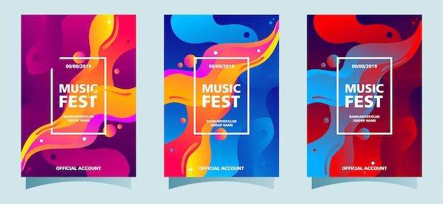 Musikfest-plakatschablonensammlung mit buntem flüssigem hintergrund