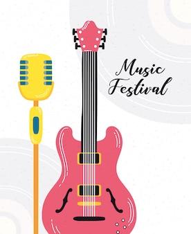 Musikfest poster mit gitarre elektrisch und mikrofon
