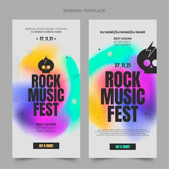 Musikfestival-banner mit farbverlauf vertikal