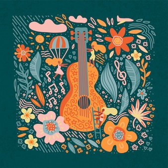 Musikfestival-fahnengitarre mit blumen und mädchen.