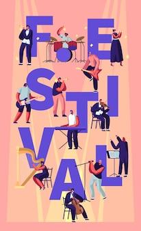 Musikfestival-konzept mit musikern, die klassische und rockinstrumente spielen, die auf der bühne auftreten