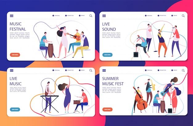 Musikfestival landing pages set vorlage