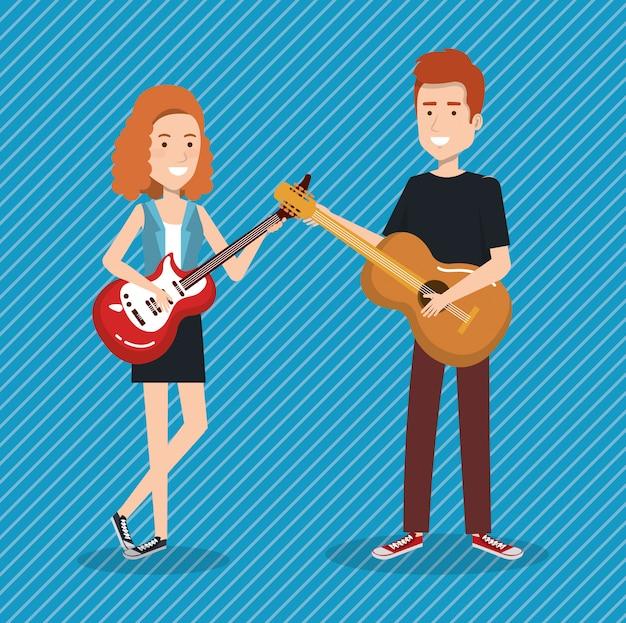 Musikfestival live mit einem paar, das gitarre spielt