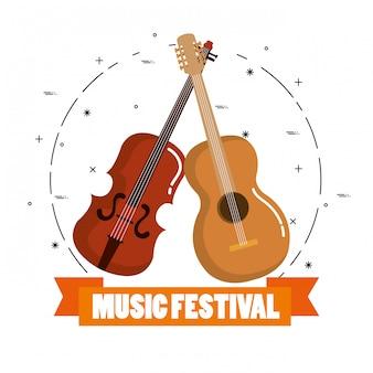 Musikfestival live mit geige und gitarre akustisch