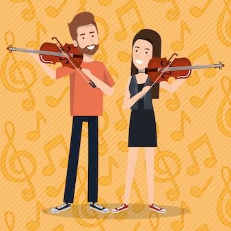 Musikfestival live mit paar geigen spielen