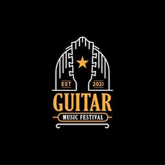 Musikfestival-logo-design-konzept illustrationen von gitarre