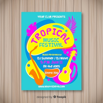 Musikfestival-plakatschablone der weinlese