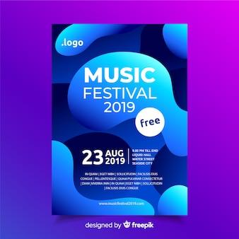 Musikfestival-plakatschablone mit flüssigem effekt