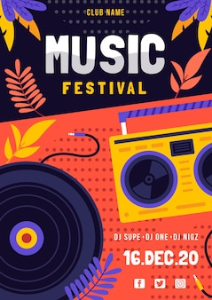 Musikfestival Poster mit DJ
