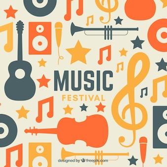 Musikfestivalhintergrund in der flachen art