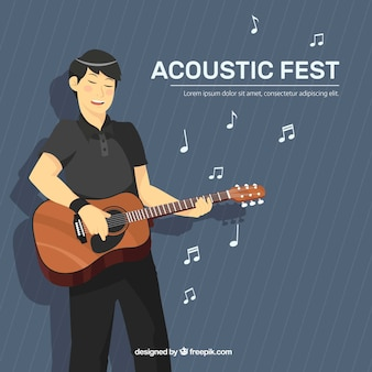 Musikfestivalhintergrund mit dem musiker, der gitarre spielt