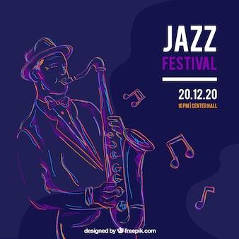 Musikfestivalhintergrund mit dem musiker, der saxophon spielt
