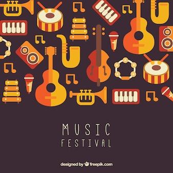 Musikfestivalhintergrund mit instrumenten in der flachen art