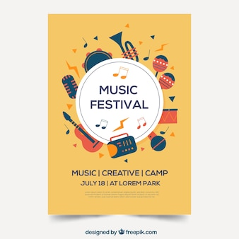 Musikfestivalplakat im flachen design