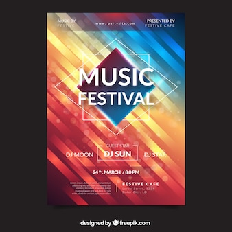 Musikfestivalplakat mit abstrakten formen