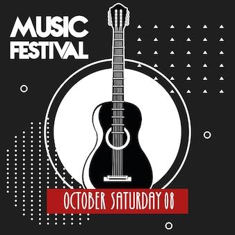 Musikfestivalplakat mit gitarrenakustikinstrument im schwarzen hintergrund.