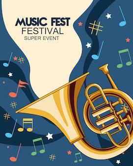 Musikfestplakat mit trompetenillustration