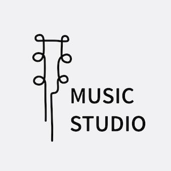 Musikgeschäftslogoschablone, branding-designvektor, musikstudiotext