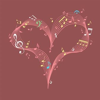 Musikherz mit schlüssel- und notengestaltungselement für romantischen musikvalentinsgrußkartenvektor