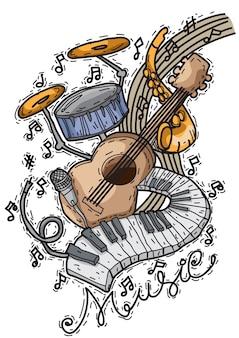 Musikhintergrund mit gezeichneter art der instrumente in der hand