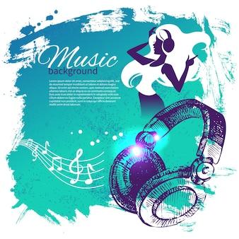 Musikhintergrund mit hand gezeichneter illustration und tanzmädchenschattenbild. splash blob retro-design