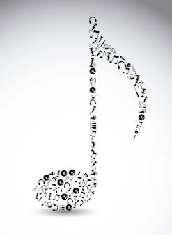 Musikikonen über weißer Hintergrundvektorillustration