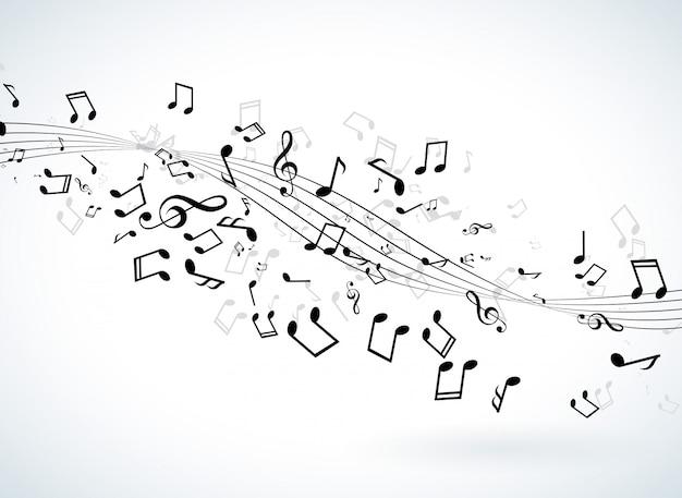 Musikillustration mit fallenden anmerkungen über weißen hintergrund