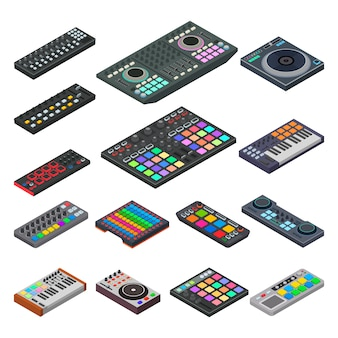 Musikinstrument der midi-tastaturvektoraudiotonausrüstung für digitale musikillustration