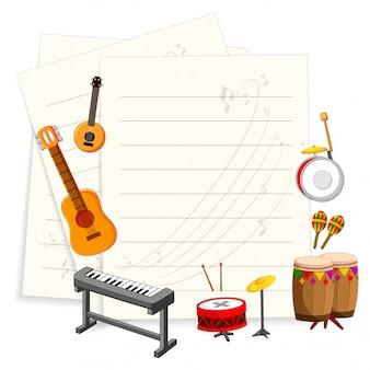 Musikinstrument mit einer leeren vorlage