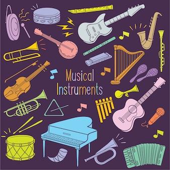 Musikinstrumente des gekritzels in der pastellfarbe