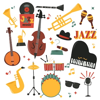 Musikinstrumente eingestellt mit klaviersaxophon, mikrofon
