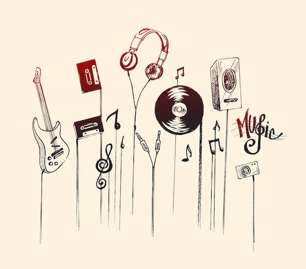 Musikinstrumente hand gezeichnete skizze vektor-illustration