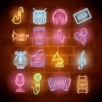 Musikinstrumente mit neonlichtern stellen ikonen ein