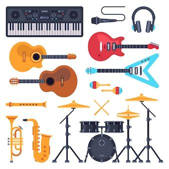 Musikinstrumente. orchestertrommel, klaviersynthesizer und akustische gitarren. jazz band musikinstrument flach gesetzt