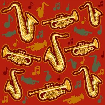 Musikinstrumente saxophon und kornettmuster