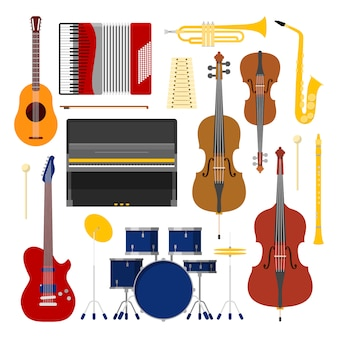 Musikinstrumente set icons collection mit trommel; violine und akkordeon.