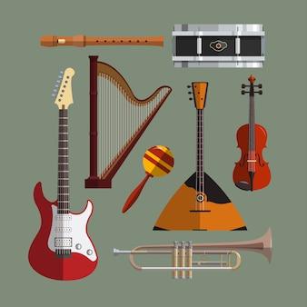 Musikinstrumentensammlung. flache designillustration mit musikalischen gegenständen, gitarre, violine, balalaika, trommel, harfe, rohr, trompete.