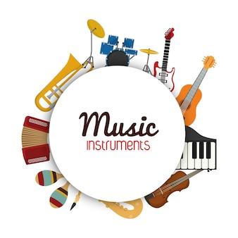 Musikinstrumentkonzept dargestellt durch die ikone, die in kreis eingestellt wird