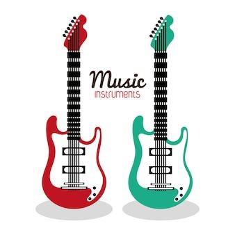 Musikinstrumentkonzept dargestellt durch ikone der elektrischen gitarre