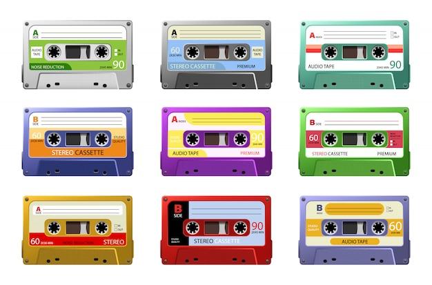 Musikkassetten. retro-dj-tonband, rave-party-stereomix der 1980er jahre, old-school-aufnahmetechnologie. webgrafiken, banner, werbung, aufkleber