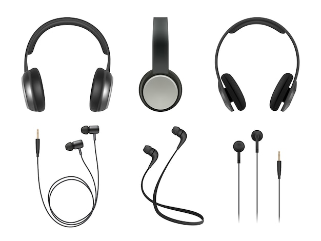 Musikkopfhörer. hochwertige elektronische artikel stereo-kopfhörer technologie vektor realistische bilder