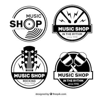 Musikladenlogosammlung mit flachem Design