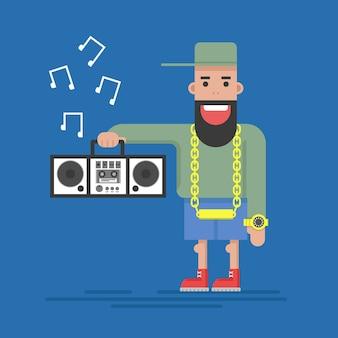 Musikliebhaber, popsänger, mann mit einem tonbandgerät, eine goldene uhr und eine goldene kette