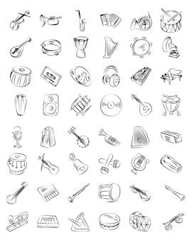 Musiklinie icons set