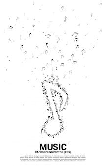 Musikmelodienanmerkung, die flusshintergrund tanzt