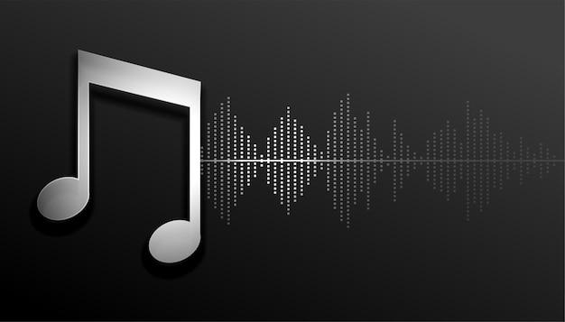 Musiknoten mit schallwellen-equalizer-frequenzhintergrund