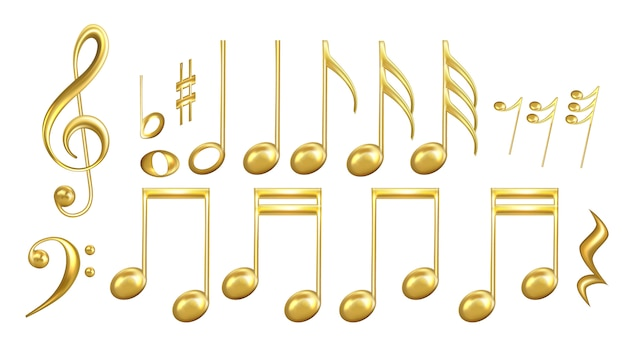 Musiknoten symbole in golden color set