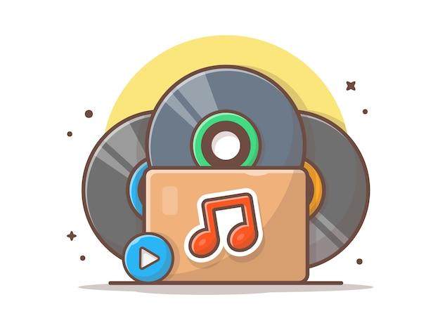 Musikordner mit vinyl, musik und noten. stapel vinyl im kasten-ikonen-weiß lokalisiert