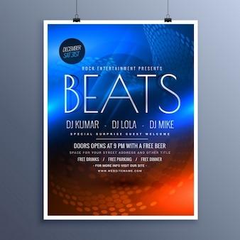Musikparty werbung flyer vorlage in blau und orange farben